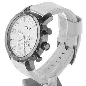 Fossil Nate White Dial Stainless Steel Chronograph